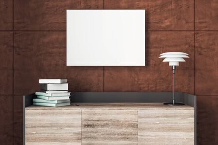 Blank billboard on wall, lamp and books on table. Mock up, 3D Rendering