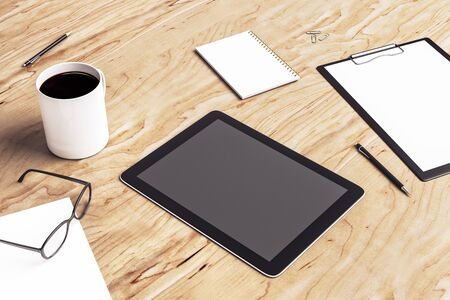 Modern office desktop with white tablet screen and supplies. Mock up, 3D Rendering