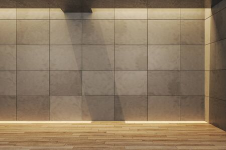 Minimalistic gallery interior with empty wall. Gallery, advertisement, presentation concept. Mock up, 3D Rendering Stok Fotoğraf