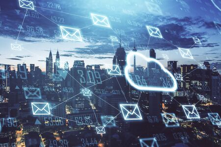 Creative glowing cloud email map hologram on a city background. Cloud computing  interactive hud concept. 3D Rendering Stok Fotoğraf