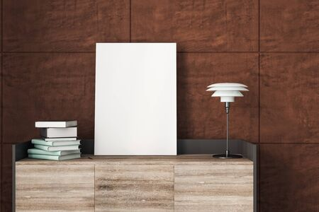 Table with empty poster, lamp and books in modern  interior. Mock up, 3D Rendering
