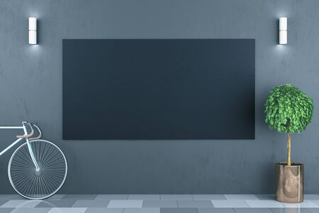 Clean hipster interior with bicycle and empty black poster on wall. 3D Rendering Stok Fotoğraf