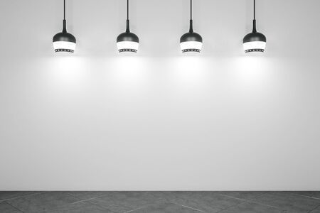 White concrete gallery interior with lamps. Gallery, advertisement, presentation concept. Mock up, 3D Rendering