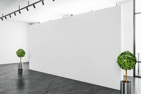 Modern white gallery interior with empty wall and daylight. Mock up, 3D Rendering Stok Fotoğraf