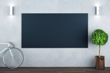 Modern hipster interior with bicycle and empty black billboard on wall. 3D Rendering