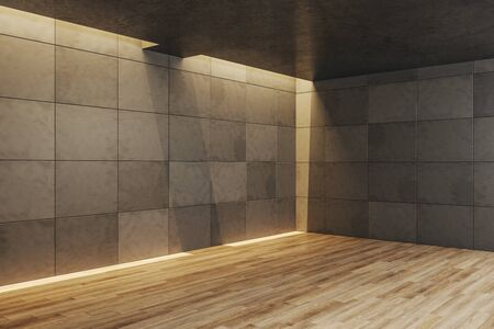Minimalistic concrete gallery interior with empty wall. Gallery, advertisement, presentation concept. Mock up, 3D Rendering