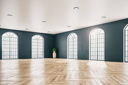 Contemporary gallery interior with wooden floor, window and plant. Museum and exhibition concept. Mock up, 3D Rendering Stok Fotoğraf