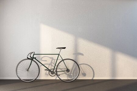 Minimalistic hipster interior with bicycle and white concrete wall. 3D Rendering