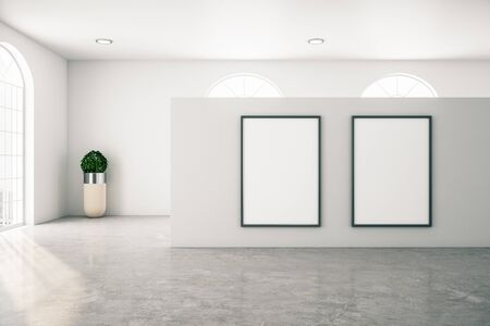 Bright gallery interior with two poster and concrete floor. Museum and exhibition concept. Mock up, 3D Rendering