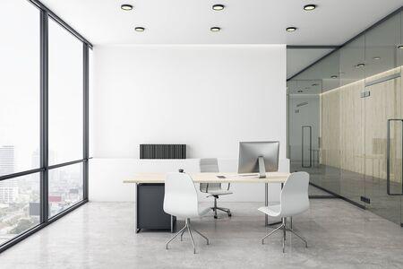 Luksusowe biuro dyrektora z białą betonową posadzką i jasnym widokiem na miasto. Renderowanie 3D