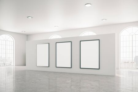 Bright gallery interior with three white banner and concrete floor. Museum and exhibition concept. Mock up, 3D Rendering