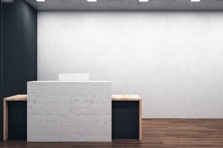 Luxury reception table standing on wooden floor with computer. Mock up, 3D Rendering