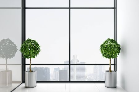Modern interior with big window with panoramic city view and two plant.  Mock up, 3D Rendering Stok Fotoğraf