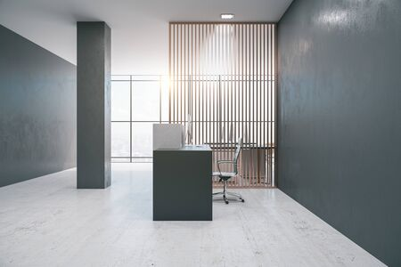 Contemporary office lobby interior with reception desk, computers and empty copyspace on gray wall. Mock up, 3D Rendering