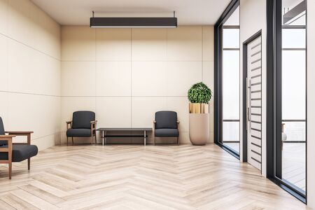 Modern waiting room with chairs, wooden floor and plant. Workplace and lifestyle concept. Mock up, 3D Rendering