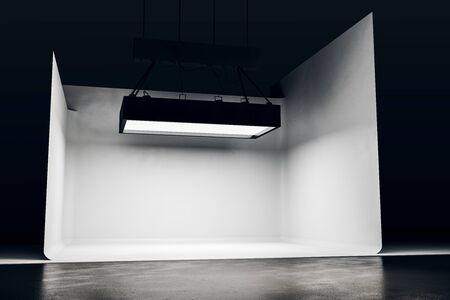 Photo studio with lighting equipment and white background. Photgraphy concept. 3D Rendering