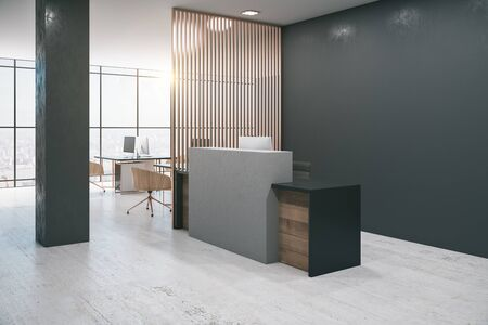 Office lobby interior with reception desk, computers, shadows, city view, daylight and empty copyspace on stone wall. Mock up, 3D Rendering