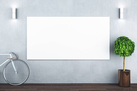 Hipster interior with bicycle and empty white billboard on wall. 3D Rendering
