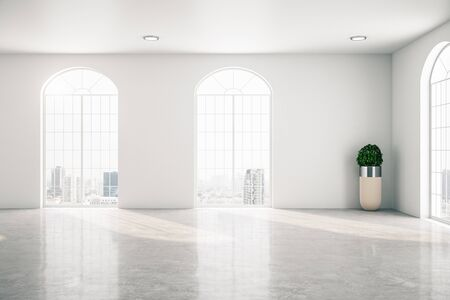 Modern gallery interior with two window and plant. Museum and exhibition concept. Mock up, 3D Rendering