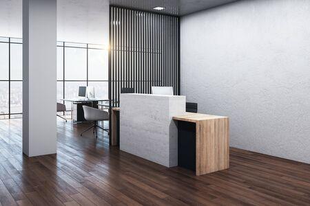 Luxury reception table standing on wooden floor. Mock up, 3D Rendering