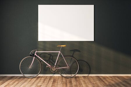 Clean hipster interior with bicycle and blank billboard on wall. 3D Rendering