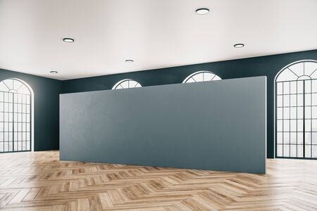 Contemporary gallery interior with empty gray wall and wooden floor. Museum and exhibition concept. Mock up, 3D Rendering