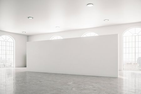 Modern gallery interior with empty wall and concrete floor. Museum and exhibition concept. Mock up, 3D Rendering Stok Fotoğraf