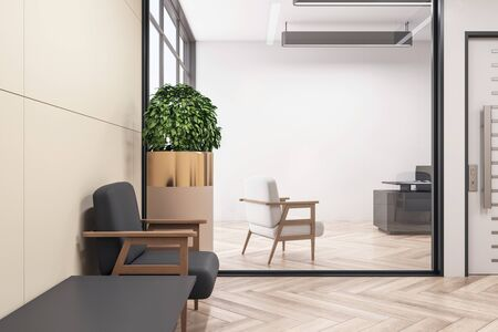 Modern waiting room with chairs, wooden floor and plant. Mock up, 3D Rendering Stok Fotoğraf