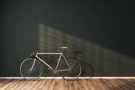 Clean hipster interior with bicycle and empty concrete wall. 3D Rendering