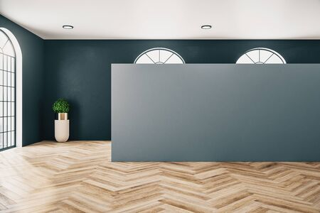 Gallery interior with empty gray wall and wooden floor. Museum and exhibition concept. Mock up, 3D Rendering