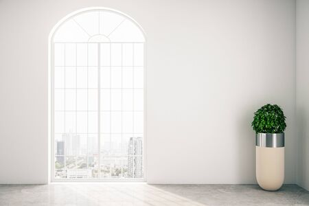 Modern gallery interior with window and plant. Museum and exhibition concept. Mock up, 3D Rendering