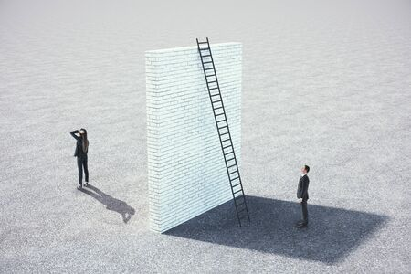 Businessman looking on brick wall with ladder. Teamwork and challenge concept. Mock Up