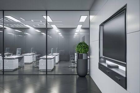 Sala interior de reuniones contemporáneas con plasma en blanco en la pared. Concepto de educación y negocios. Mock up, representación 3D Foto de archivo