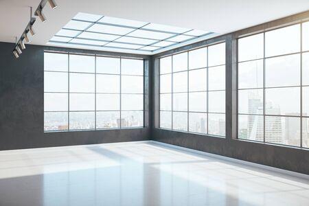 Sonniges minimalistisches Interieur mit Panoramafenstern mit Blick auf die Stadt. 3D-Rendering