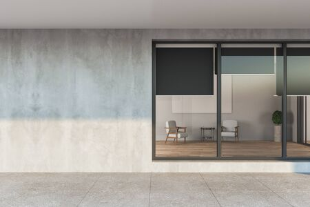 Modern apartament house with gray facade and window. Building and architecture concept, 3D Rendering