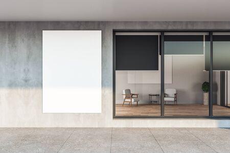 Minimalistisches Apartmenthaus mit grauer Fassade und leerem Banner. Gebäude- und Architekturkonzept, 3D-Rendering
