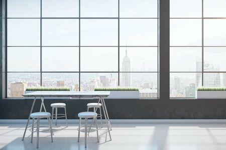 Clean coworking space with table and panoramic megapolis city view. Occupation and worker concept. 3D Rendering