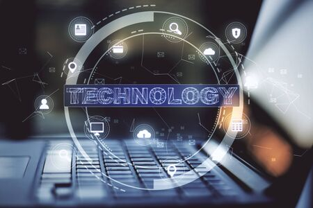 Laptop with computing diagram. Global business and information communication technology concept. Close up Stockfoto