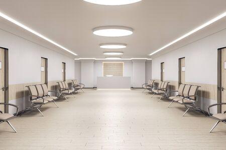 Sala d'attesa all'interno dell'ufficio medico con reception e sedie. Concetto medico e sanitario. Rendering 3D