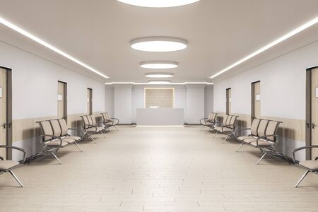 Salle d'attente à l'intérieur du cabinet médical avec réception et chaises. Concept médical et de soins de santé. Rendu 3D