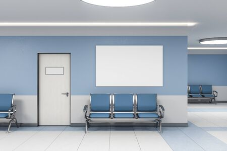 Contemporary waiting room in blue medical office interior with chairs and blank poster on wall. Medical and healthcare concept. 3D Rendering