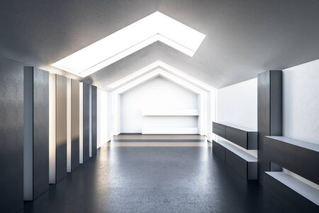 New triangular loft interior with roof window and daylight. Art and design concept. 3D Rendering Stock Photo