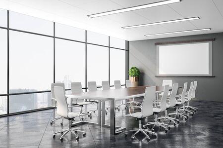 Moderna sala conferenze con vista sulla città e schermo per proiettore a parete. Concetto di presentazione aziendale. Rendering 3D Archivio Fotografico