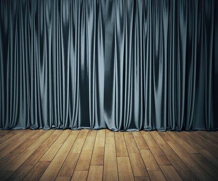 Bühne mit grauem Vorhang und Holzboden. Kunst- und Unterhaltungskonzept. Mock-up, 3D-Rendering