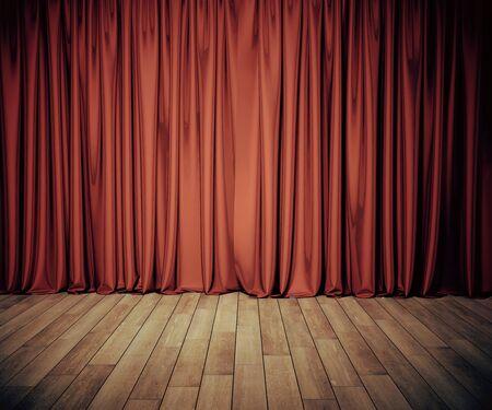 Palco con sipario rosso e pavimento in legno. Concetto di arte e intrattenimento. Mock up, rendering 3D Archivio Fotografico