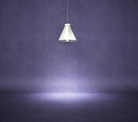 Vintage style hanged ceiling lamp with dark blue concrete wall on background, 3D Rendering 写真素材