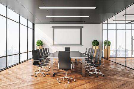 Leerer Bildschirm für Projektor an der Wand im sauberen Konferenzraum. Präsentationskonzept für Unternehmen. 3D-Rendering