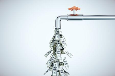 Rubinetto di acqua che gocciola banconote da un dollaro su sfondo grigio. Business e concetto di successo finanziario. Rendering 3D Archivio Fotografico