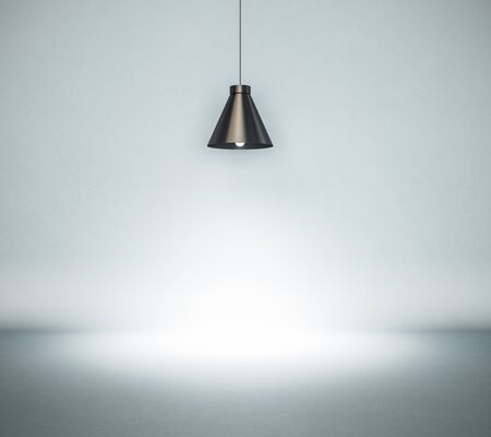 Vintage style hanged ceiling lamp with blue concrete wall on background, 3D Rendering
