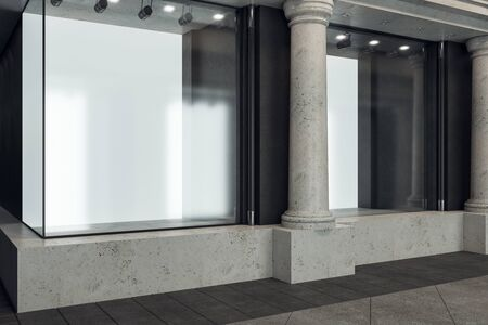 Boutique with blank billboard in glass showcase and columns. Advertisement and retail concept. Mock up, 3D Rendering